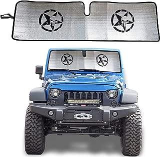 Carps 2007-2018 Jeep Wrangler Windshield Sunshade Sun Shade Heat Shield Sun Visor Mat for Jeep Wrangler Rubicon Sahara JK, JKU, 2 Door & 4 Door