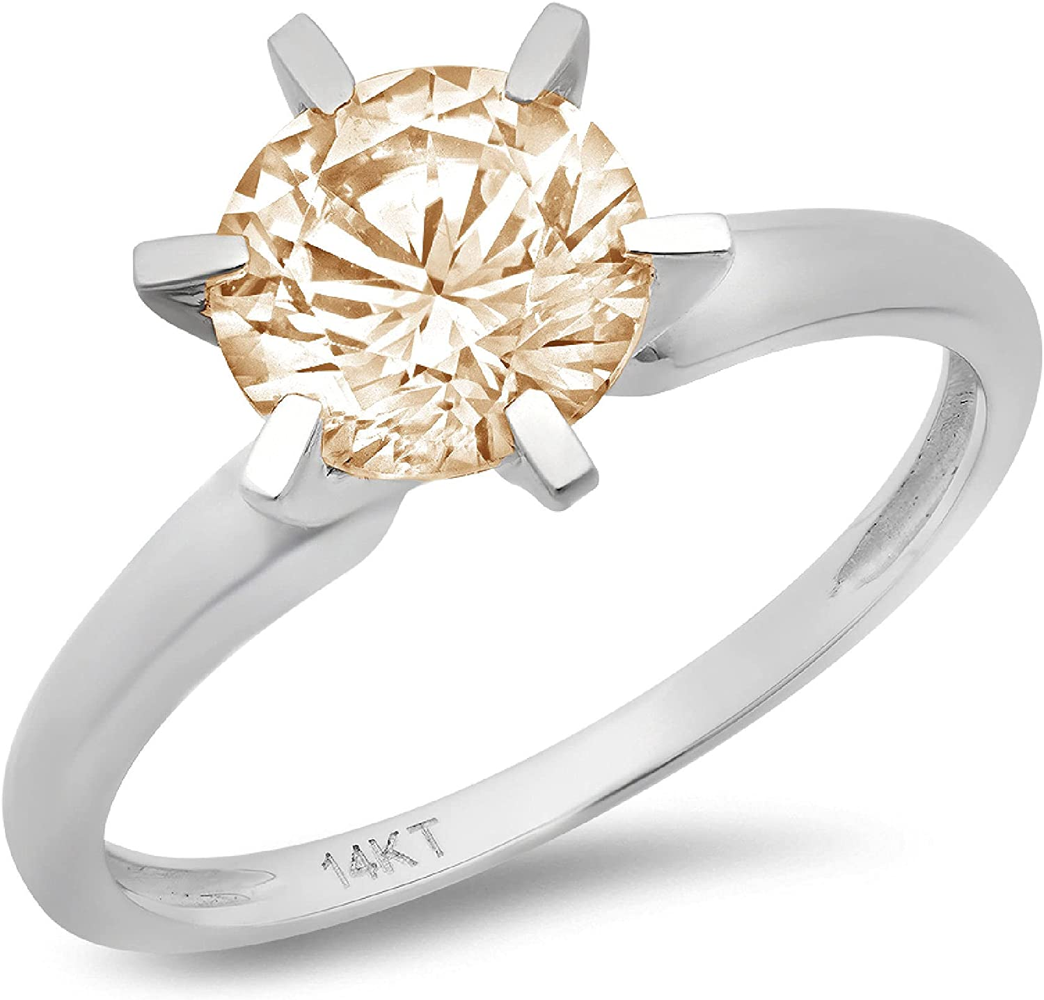 Clara Pucci 0.50 ct Brilliant Round Cut Solitaire Natural Brown Morganite Gem 6-Prong Engagement Wedding Bridal Promise Anniversary Ring in Solid 18K White Gold for Women