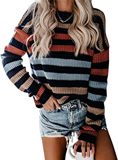 AEL Women's Casual Color Block Striped Long Sleeve Crew Neck Knitted Oversized Pullover Sweaters Tops