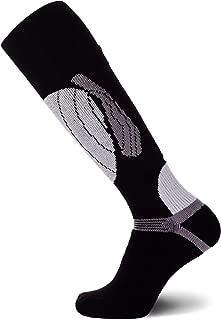 PureAthlete Elite Wool Race Ski Socks - Warm Comfortable Ski Socks, Snowboard Socks - Merino Wool Ski Socks (Black/Silver, L/XL)