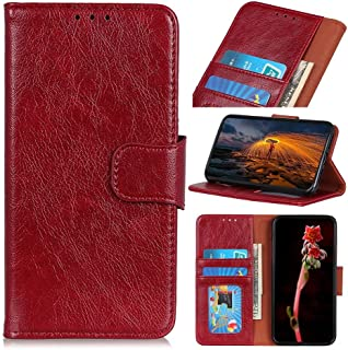 RanTuo Phone Case for Realme C21Y, with Card Slots, Bracket, TPU + PU Leather, Flip Case Cover for Realme C21Y.(Red)