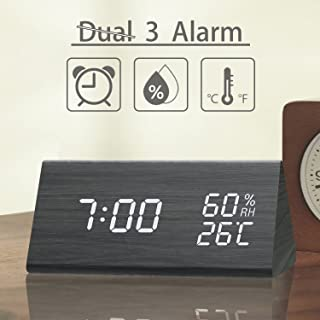 TooTa Digital Clock, 3 Alarm Settings, with Wooden Electronic LED Time Display, Dual