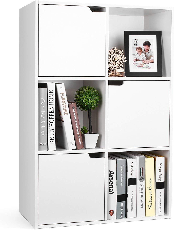 Librería Estantería Pared para Libros Estantería Madera Mueble Almacenaje con 6 Cubos y 3 Puertas para Oficina Estudio Salón 60x29x90cm