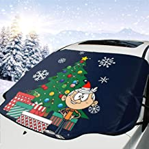 ENXIANGXIJ Lincoln Loud House Around The Christmas Tree Car Windshield Snow Cover, Ice Removal Sun Shade, Fit for Universal Cars (58'' X47'')