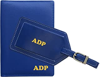 Personalized Monogrammed Cobalt Blue Leather RFID Passport Wallet and Luggage Tag