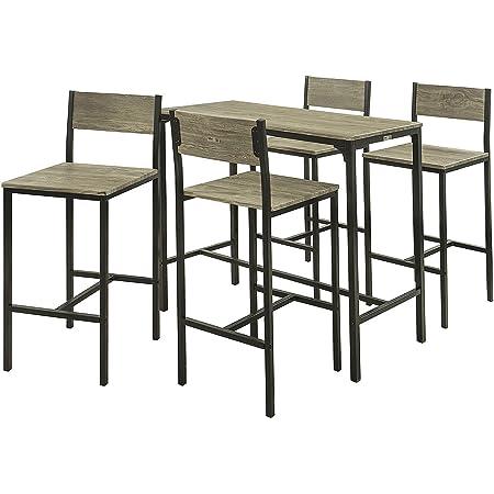 SoBuy® OGT14-N Set de 1 Table + 4 chaises Ensemble Table de Bar + 4 tabourets de Bar avec Repose-Pieds Table Mange-Debout Table Haute Cuisine
