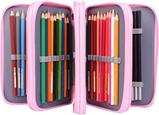 Newcomdigi Estuche Bolso Caja de Lapices Colores 72 Ranuras Portálapices Organizador de Alta Capacidad para Lapices de Colorear Dibujo Acuarela Arte Oficina y Maquillaje Coméstico Rosa