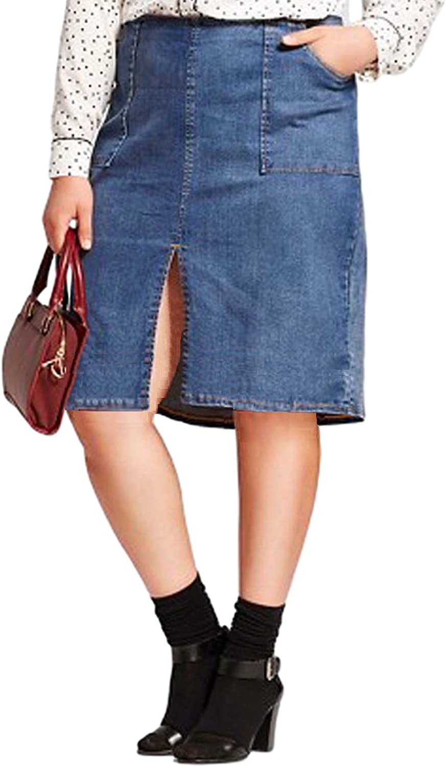 Who What Wear Women's Denim Pencil Skirt with Front and Back Slit