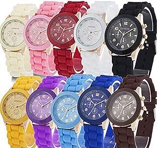 10 Assorted Analog Quartz Jelly Watches for Women Men Kids Wholesale