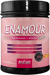 RevLabs ENAMOUR Womens Pre-Workout for Her with Added Branch Chain Amino Acids (Tropical Cocktail)
