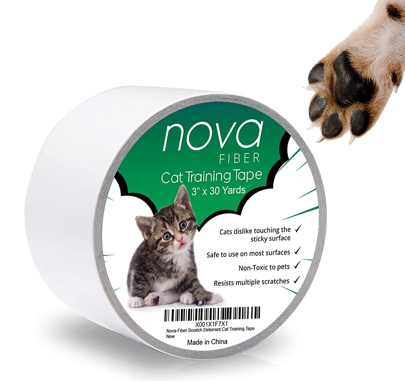Nova-Fiber Scratch Deterrent Cat Training Tape, 3 inch x 30 Yards, Stop Your pet from Scratching Furniture, Chairs, Sofas, Textiles, Bed Posts etc.