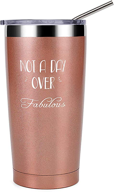 Not A Day Over Fabulous Best Friend Gifts For Women 20 Oz Stemless Wine Tumbler Insulated Stainless Steel Tumbler With Lid For BFF Best Friends Coworkers Her Wife Mom Daughter Sister Aunt