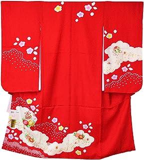 七五三 着物 7歳 正絹四つ身セット 本絞り まり花輪菊赤 祝い着 四ツ身セット 日本製 キッズ