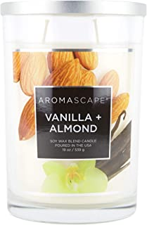 Aromascape 2-Wick Scented Jar Candle, Vanilla & Almond, 19-Ounce, White