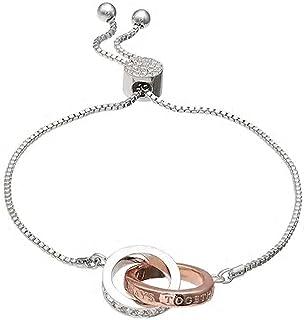 "Brilliance Two Tone""Always Together"" Bolo Adjustable Bracelet with Swarovski Crystals, in sparkling box"