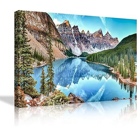 Moraine Lake Reflection Photo 5 panel canvas Wall Art Home Decor Print Poster