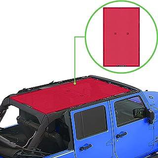 ALIEN SUNSHADE Jeep Wrangler JKU (2007-2018) Full Length Sun Shade Mesh Top Cover (Cherry Red) – 10 Year Warranty - Blocks...