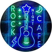 ADVPRO Rock Café Night Guitar Performance Dual Color LED Neon Sign Green & Blue 16 x 24 Inches st6s46-i4092-gb