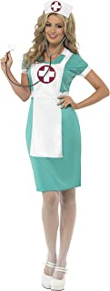 Smiffys Women's Scrub Nurse Costume, Dress, Mock Apron and Headpiece