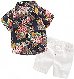 Hawaiian Outfits Toddler Boys Flower Button-Down Shirts Shorts Clothes Set