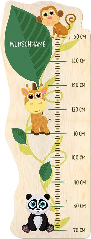 PrintPlanet® - Holz-Messlatte mit Namen gestalten - Messlatte für Kinder selbst personaliseren - Motiv: Tiere