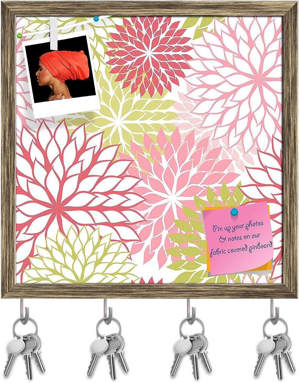 Artzfolio Hand Draw Flowers Key Holder Hooks   Notice Pin Board   Antique golden Frame 20 X 20Inch