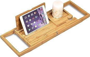 Bamboe Badblad Plank Boven Bad Caddy Dienblad Houten met Uitschuifbare Zijkanten/Wijnglas/Smartphone Houder, Compact en pa...