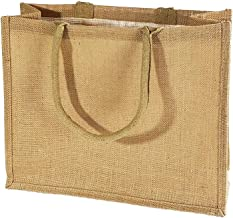 "Jute Burlap Tote Bags Soft Cotton Handles Laminated Interior Reusable Grocery Shopping Bags w/Full Gusset by TBF Bags Large - 15.5"" x 13.75"" x 6"" Beige"