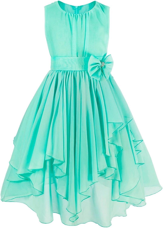 iEFiEL Kids Big Girl Asymmetric Ruffles Flower Girl Dresses Outdoor Wedding Bridesmaid Chiffon Dress