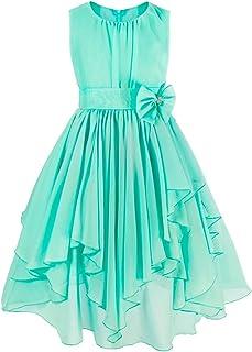 caee70d2444ae TiaoBug Robe de Soirée Fille Demoiselle d honneur Robe Asymétrie Enfant  Tutu Robe Princesse Mariage