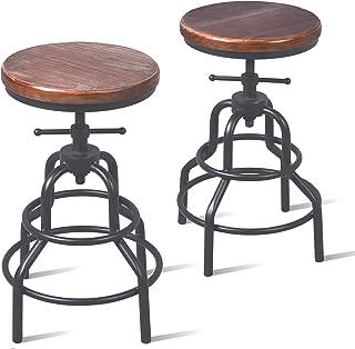Topower Lot de 2 tabourets de bar en métal style industriel et antique avec hauteur réglable