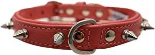 """Spiked Studded Leather Dog Collar, Padded, Double-Ply, 18"""" x 3/4"""", Pink, 100% Genuine Leather (Rotterdam Spiked) French Bu..."""
