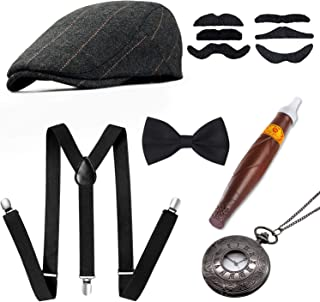 1920s Men Accessories Gatsby Gangster Costume Accessories Set Newsboy Flat Hat Y-Back SuspendersTied Bow Cigar Mustache Vintage Pocket Watch Grey