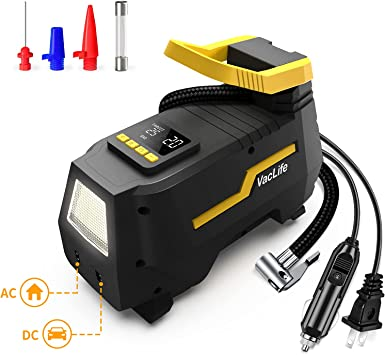 VacLife Tire Inflator for Home (110V) and Car (12V),AC/DC Portable Air Compressor, Bicycles and Other Inflatables, Digital Air Pump with LED Light & Long Power Cords, Model: ATJ-1666, (VL708): image
