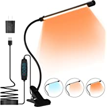 OUSFOT Book Light 9 LEDs Clip-on Reading Light for Books in Bed with 3 Levels Color Temperature and Touch Stepless Dimming Blue Light Blocking of 1600k Eye Protection Amber Lighting for night reading