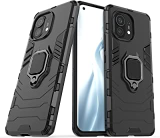 for Xiaomi Mi 11 Case, Heavy Duty Shockproof Armor Protection Defender Back Case Cover with 360° Rotating Finger Ring Kick...