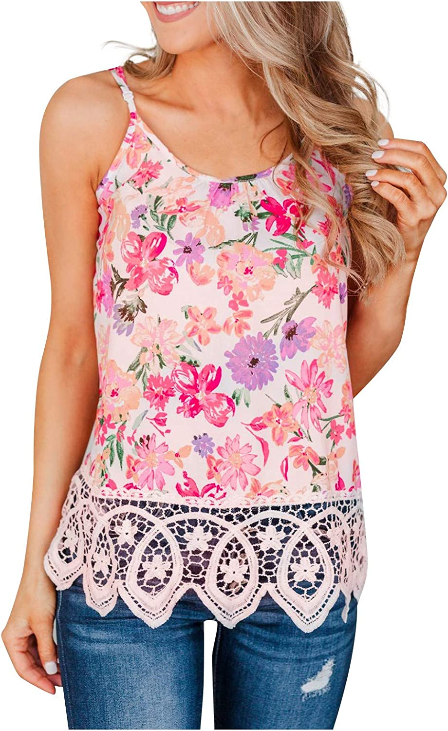 Womens Max 55% OFF Summer Floral Print Tank Tops Sleev Neck O Lace Patchwork 2021