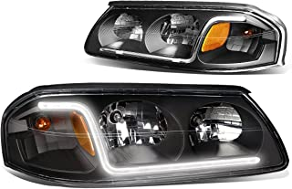 DNA Motoring Black amber HL-LB-CI00-BK-AM Pair of Headlight Assembly [for 00-05 Chevy Impala]