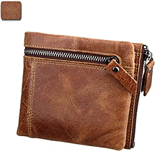 Men's Wallet Short Crazy Horse Skin Anti-Theft Brush RFID Leather Men's Wallet Fashion Trend for Travel Leisure (Color : Brown, Size : S)