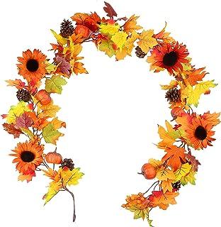 YUDIAN Decoraciones de guirnaldas de otoño, 6 pies, Guirnalda de Hojas de Arce Falsas de otoño, Girasol de otoño, Bayas de...