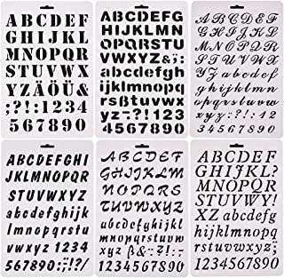 Qibote Plastic Letter Stencils Alphabet Number Drawing Painting Stencils Scale Template for Notebook, Diary, Scrapbook, Journaling, Graffiti, Card and Craft Projects, Set of 6