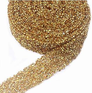 EORTA 1Yard X 3CM Rhinestone Beaded Trim Sparkling Crystal Rhinestone Hotfix Ribbon Iron on Applique Bling Chain Banding B...