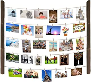 Maggift Hanging Photo Display, Hanging Pictures Holders with wooden Clips, Mounting Hardwares Included (Wood)