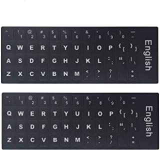 "2-Pack Universal English Keyboard Stickers, Replacement English Keyboard Stickers with Black Background and White Lettering for Wire/Wireless Keyboard, Each Unit: 0.43"" Wx 0.51"" H (English-2)"