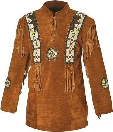 Western Cowboy - Camisa de piel de ante con flecos para ...