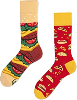 Many Mornings, Fast Foot Calcetines multicolores con taco, pizza, hamburguesa, hot dog