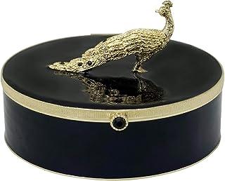 هدية صندوق مجوهرات طاووس / صندوق مجوهرات | للديكور المنزلي والمجوهرات والإكسسوارات (أسود وذهبي/ 4.7 بوصة × 4.7 بوصة × 2.7 ...