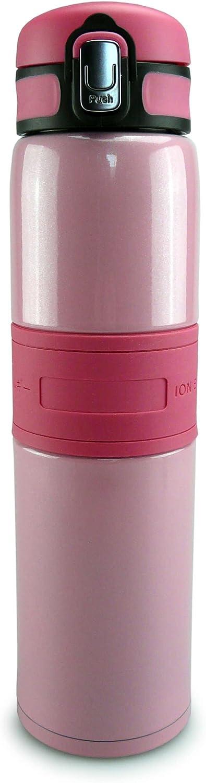 SMARDY Termo de Acero Inoxidable Rosa - 480ml - con Ion Energy - Doble Pared - estanco - Reutilizable - frío y Calor