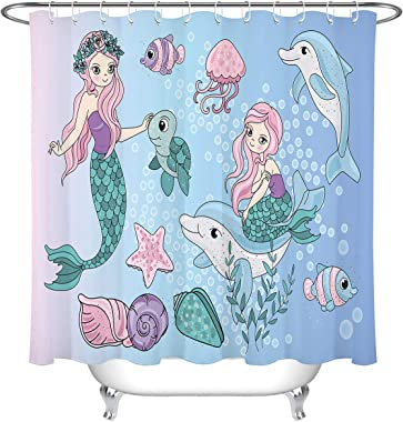 LB Kids Mermaid Shower Curtain,Mermaid Girl Sitting on Dolphin's Back with Sea Life Ocean Shower Curtains for Bathroom Waterproof Fabric 78x72 Inch
