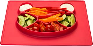 Assiette en silicone pour enfants Set de table de table avec tapis antid/érapant pour b/éb/é ; Panda rouge